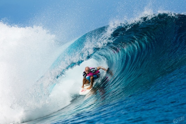 Kelly Slater durante o Billabong Pro Tahiti 2013 em Teahupoo Foto: Jarred Bell/The Surf Channel.
