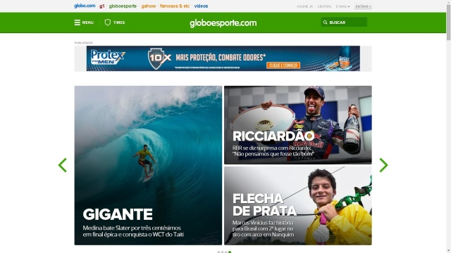 Gabriel Medina da Home do Globo Esporte.com